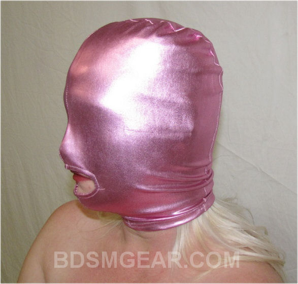 Pink Latex Hood with Mouth Hole
