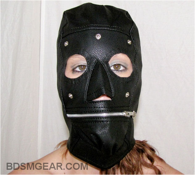Black Hood with Zipper Mouth and Removable Blindfold