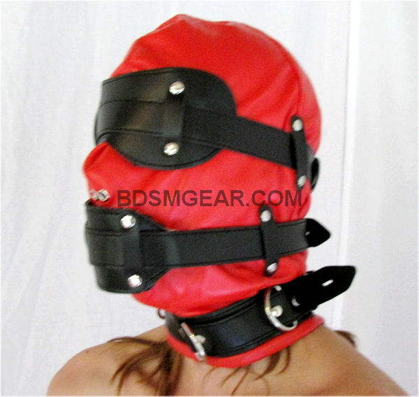 Red and Black Leather Hood