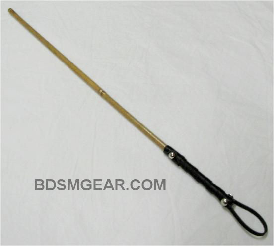 Bamboo Cane with Leather Wrap Handle