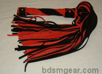 101 Lash Black and Red Suede Flogger