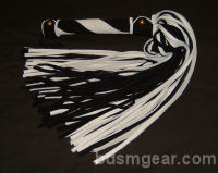 101 Lash Black and White Suede Flogger