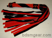 1/2 Inch 20 Lash Red and Black  Suede Flogger