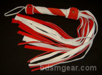 1/2 Inch 20 Lash Red and White  Suede Flogger