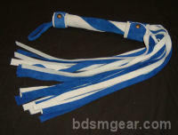 1/2 Inch 20 Lash White and Blue Suede  Flogger