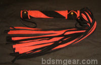 50 Lash Red and Black Suede Flogger