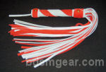 50 Lash Red and White Suede Flogger