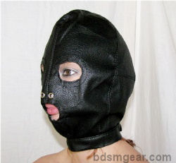 Leather Hood with eyes and mouth holes