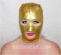 Gold Latex Hood with Eye and Mouth Holes