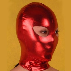 Red Latex Hood with Eye Holes