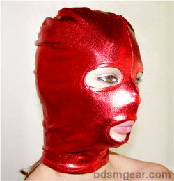 Red Latex Hood with Eyes and Mouth